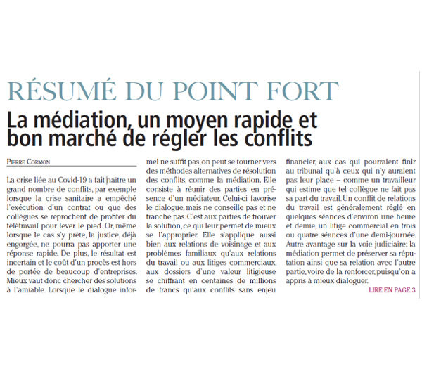Point fort - Médiation